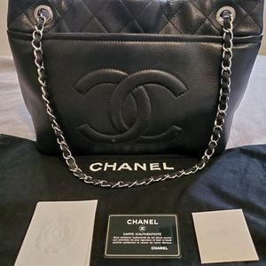 Chanel Quilted CC logo Soft Caviar Chain